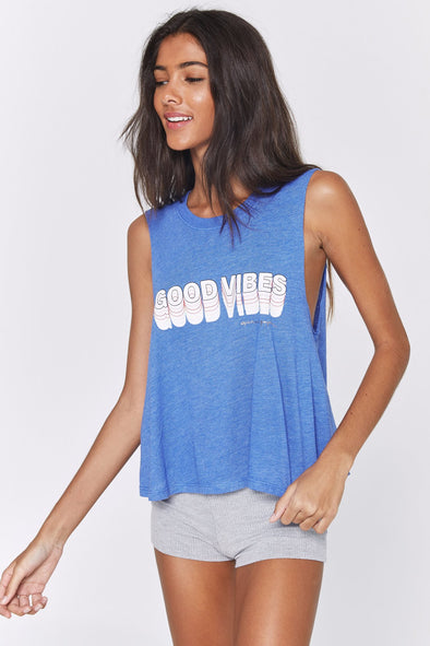 VIBES CROP TANK - BLUEBELL