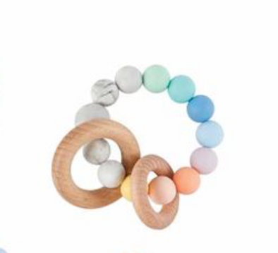 RAINBOW SILICONE WOOD TEETHER