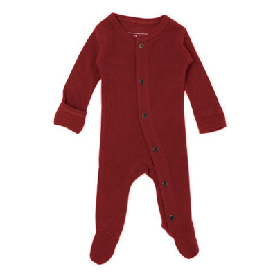 ORGANIC THERMAL FOOTED OVERALL-CRIMSON