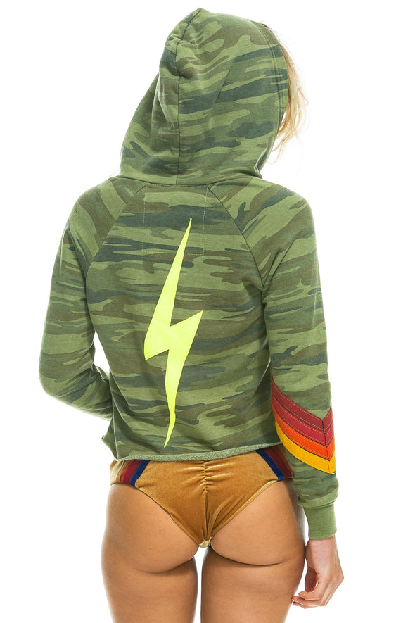 BOLT STITCH CHEVRON SPLIT NECK PULLOVER CROP HOODIE