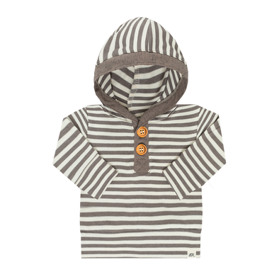 WALNUT STRIPE AND HEATHERED BUTTON HOODIE