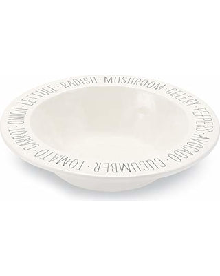 BISTRO WORD SENTIMENT SALAD SERVING BOWL, ONE SIZE, WHITE