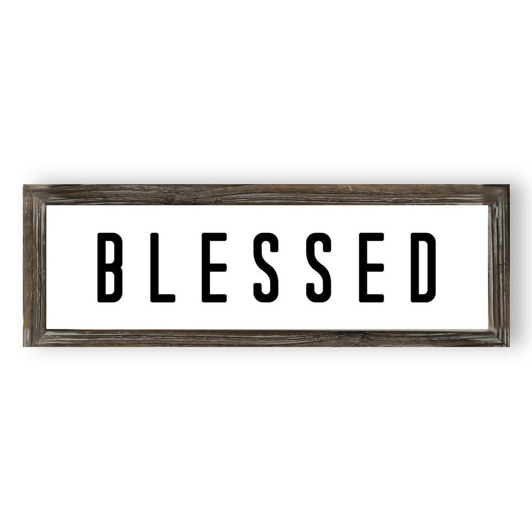 BLESSED WOOD SIGN 8X24