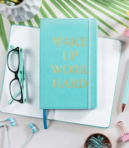 "TURQUOISE LEATHERETTE ""WAKE UP WORK HARD"" JOURNAL NOTEBOOK"
