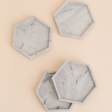 MARBLE CONCRETE HEXAGON COASTER SET