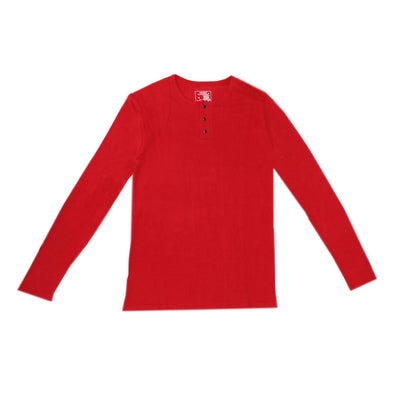 ORGANIC THERMAL MEN'S LONG SLEEVE SHIRT - CHERRY