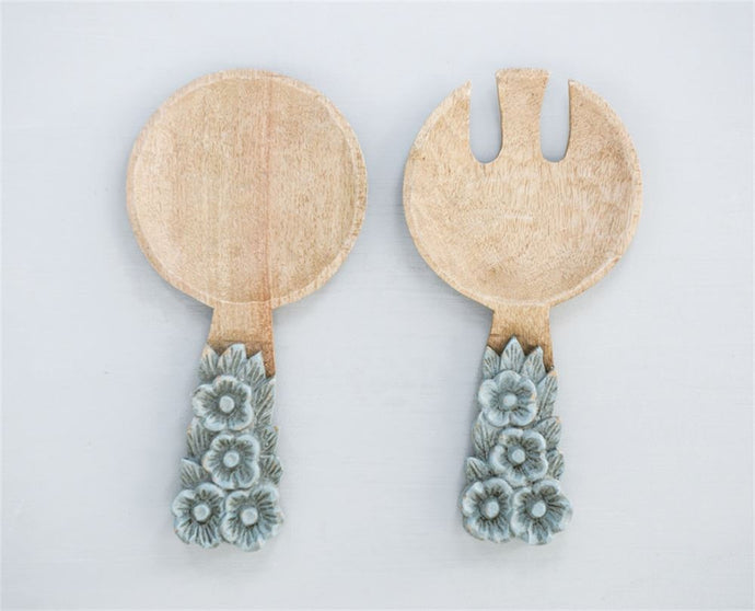 Hand-Carved Mango Wood Salad Servers