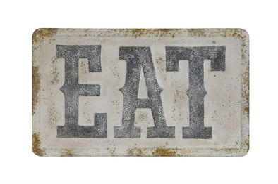 "Embossed Metal Wall Decor ""Eat"", Distressed Finish"