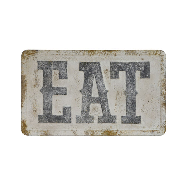 "EMBOSSED METAL WALL DECOR ""EAT"""