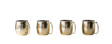 Hammered Metal Moscow Mule Mug, Gold Finish