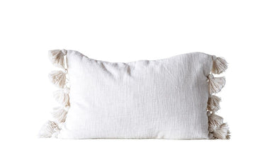 COTTON WOVEN SLUB PILLOW W/TASSELS - CREAM