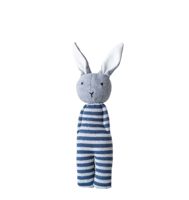 Cotton Knit Bunny Rattle, Blue & White Striped
