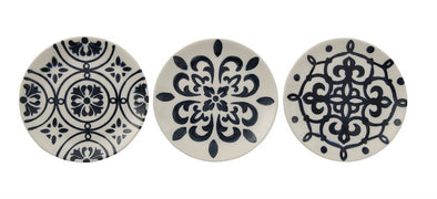 Round Hand-Painted Stoneware Plate, Blue & White, 3 Styles