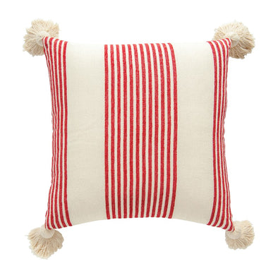 COTTON & CHENILLE STRIPED PILLOW IN RED