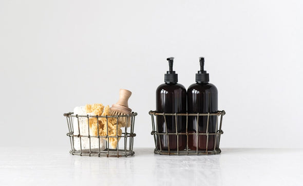 WIRE BASKET LOTION & SOAP BOTTLE HOLDER