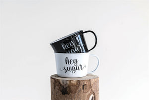 "ENAMELED MUG ""HEY SUGAR"", 2 COLORS"