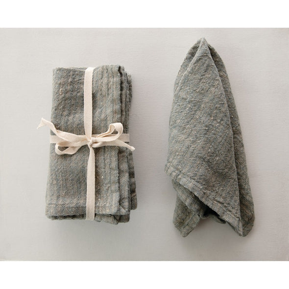 BLUE WOVEN STRIPED LINEN NAPKIN SET