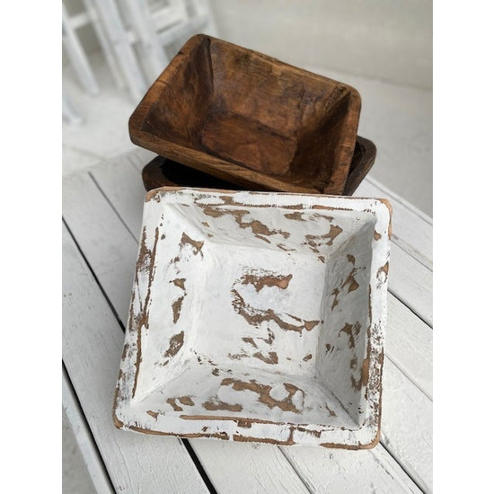 SQUARE WOODEN BOWL-NATURAL