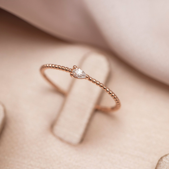 CLEAR QUARTZ GEM RING ROSE GOLD