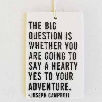 THE BIG QUESTION PORCELAIN WALL TAG