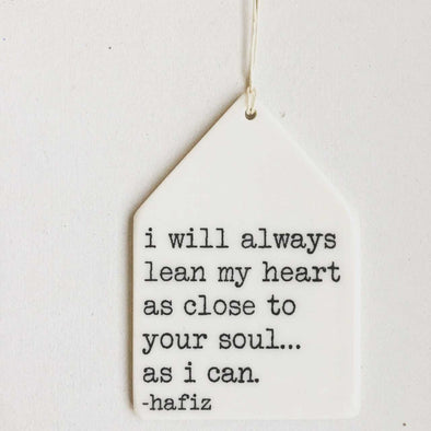 I WILL ALWAYS LEAN MY HEART PORCELAIN WALL TAG