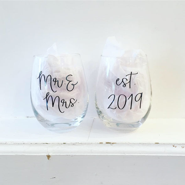 WEDDING COLLECTION EST 2019 WINE GLASS SET