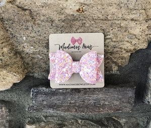 "HOLIDAY BOWS 3.5""  SPRING GLITTER"