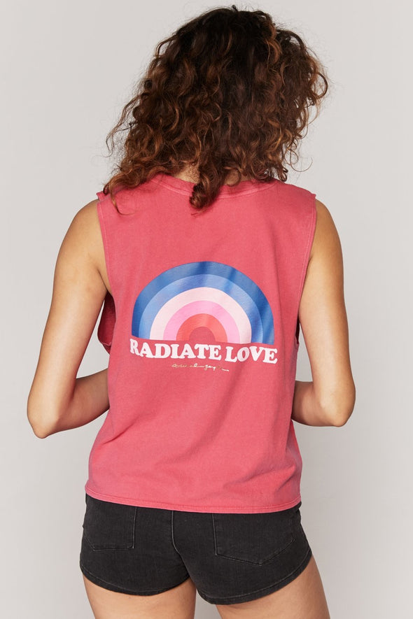 RADIATE DEEP V NECK TANK - CRIMSON