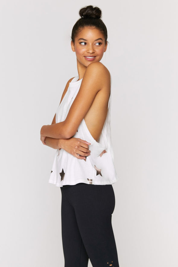 SURPLICE BACK SWING TANK - ROSE GOLD STAR PRINT