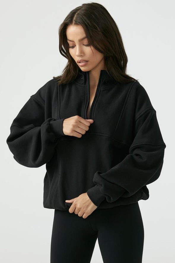 RETRO HALF ZIP - BLACK FRENCH TERRY