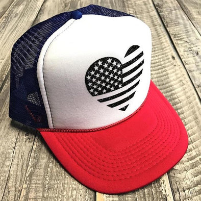 FLAG HEART RETRO TRUCKER HAT