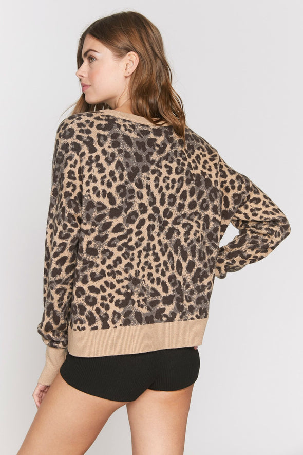 CHEETAH GLOW UP SWEATER - CHEETAH PRINT