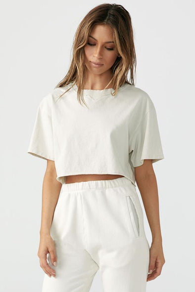 JOAH BROWN COBAIN CROP TEE - IVORY COTTON