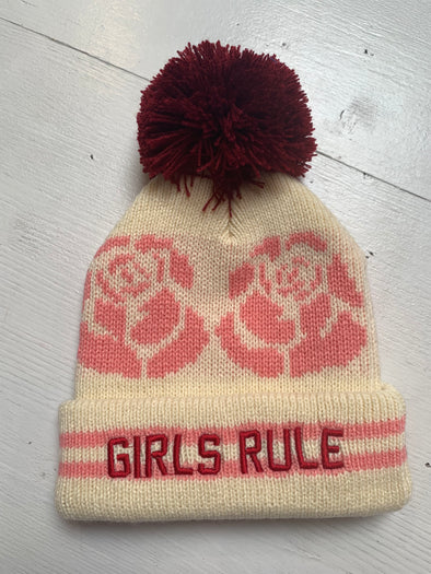 GIRLS RULE POM POM BEANIE