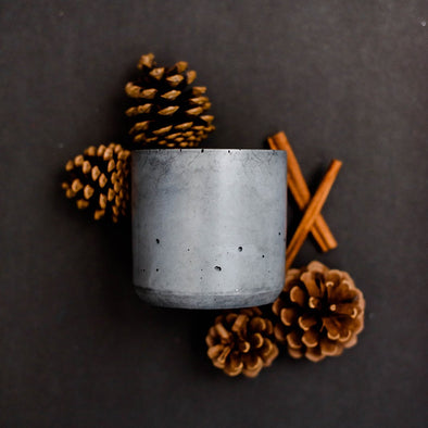 CHRISTMAS DOUBLE WICK DARK CONCRETE CANDLE