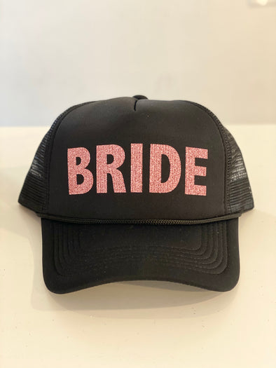 BRIDE ROSE GOLD GLITTER TRUCKER HAT