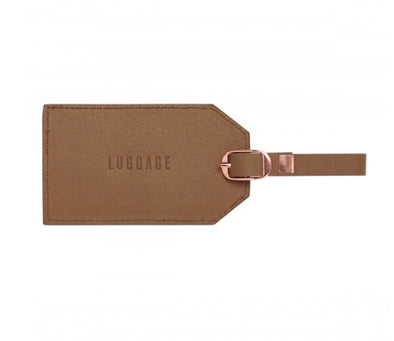 LUGGAGE TAG - BROWN LEATHERETTE