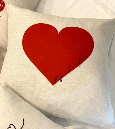 ALL YOU NEED IS RIGHT HERE HEART PILLOW
