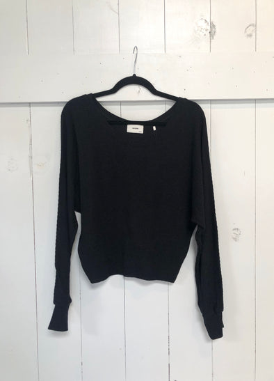 SLOUCHY DOLMAN LONG SLEEVE - BLACK