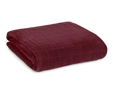 ORGANIC COTTON MUSLIN SWADDLE BLANKET - MAROON