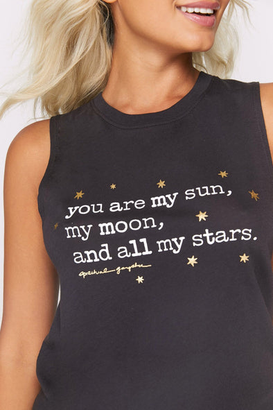 YOU ARE MY SUN MUSCLE TANK - VINTAGE BLACK