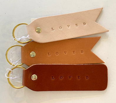 LOVED FLAT LEATHER KEYCHAIN