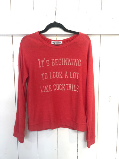 A LOT LIKE COCKTAILS DOLMAN SWEATSHIRT - RED