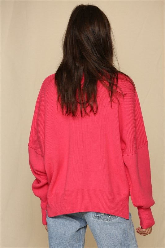 HOT PINK OVERSIZE SWEATER