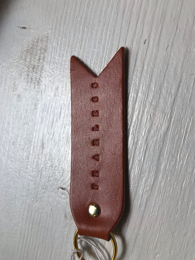 'FEARLESS' FLAT LEATHER KEYCHAIN