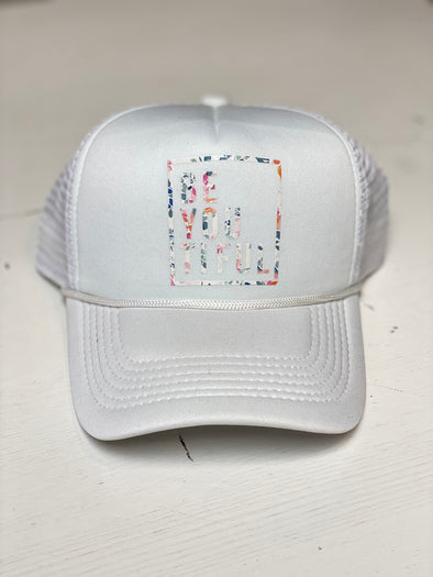 BE YOU TIFUL WHITE TRUCKER HAT