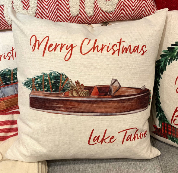 MERRY CHRISTMAS TAHOE PILLOW