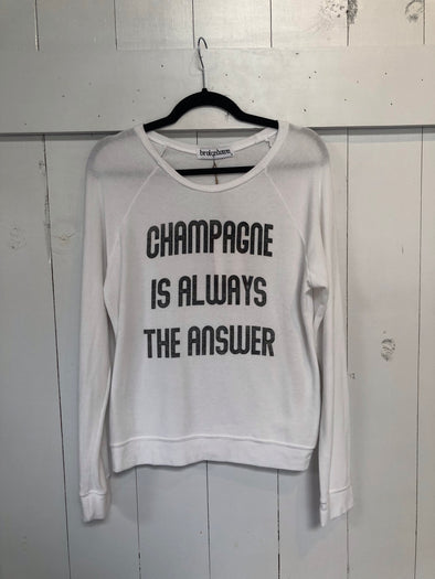 CHAMPAGNE IS ALWAYS THE ANSWER SWEATER - WHITE