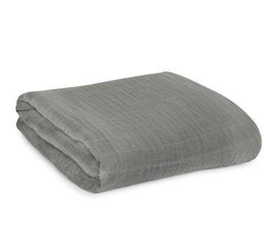 ORGANIC COTTON MUSLIN SWADDLE BLANKET - NEUTRAL GRAY