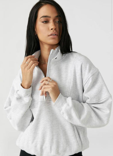 RETRO HALF ZIP - PEARL GREY FRENCH TERRY